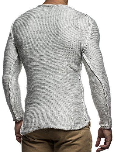 LEIF NELSON Herren Strickpullover Pullover Sweatshirt LN20707N Grau