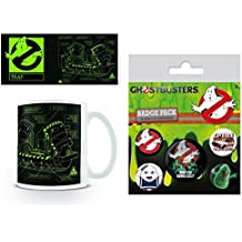 Set: Ghostbusters, 3, Trap Foto-Tasse Kaffeetasse (9x8 cm) Inklusive 1 Ghostbusters Button Pack (15x10 cm)