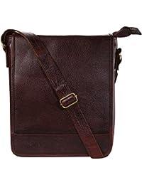 Zordan Pure Leather Cross Body Sling Bag For I-Pad & MacBook Color Brown For Men & Women