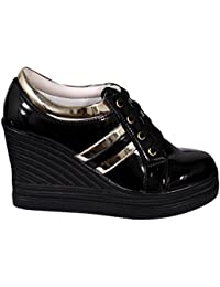 Bird Bird Ankle Length Wedge Heel Womens Black Boots With Stylish Gold Stripes Ideal For Casual Outings | Party...