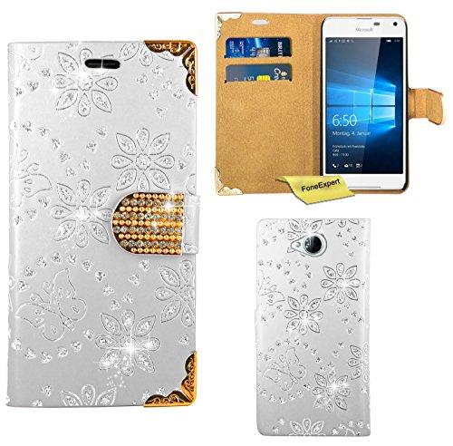 Preisvergleich Produktbild Microsoft Lumia 650 Handy Tasche, FoneExpert® Bling Luxus Diamant Hülle Wallet Case Cover Hüllen Etui Ledertasche Premium Lederhülle Schutzhülle für Microsoft Lumia 650 (Weiß)