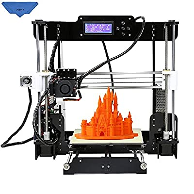 Aibecy Anet A8 High Precision Desktop 3D Printer Reprap Prusa i3 DIY Kits Acrylic Frame Printing Size 220*220*240mm with 8GB SD Card 1 Roll of Filament Support ABS/PLA/HIP/PP/Wood Filament