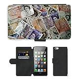 PU Leder Wallet Case Folio Schutzhülle // M00154398 Geld-Währung Finanzen Reichtum // Apple iPhone 5 5S 5G SE