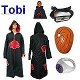 Cosplay Naruto Akatsuki Ninja traje de cosplay Tobi Set - Capa con capucha (XL: Tamaño 177cm-184cm) +Tobi diadema + ninjas Tobi máscara + Tobi anillo