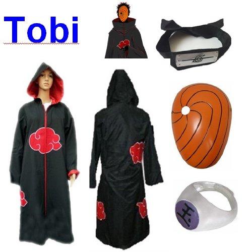 Sunkee Japanische Anime Naruto Cosplay Für Tobi Set -- Akatsuki Ninja Kapuzenumhang Mantel,Größe(XL: Höhe 177cm-184cm) + Tobi Maske +Tobi Ring+Tobi - Tobi Maske Kostüm