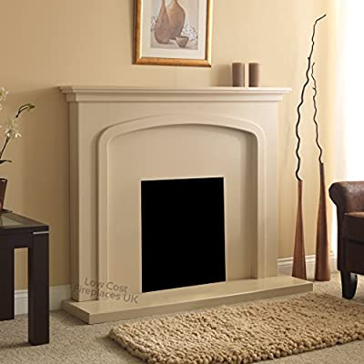 Electric Cream Beige Stone Effect Modern Wall Freestanding Fire Surround Fireplace Suite 48""