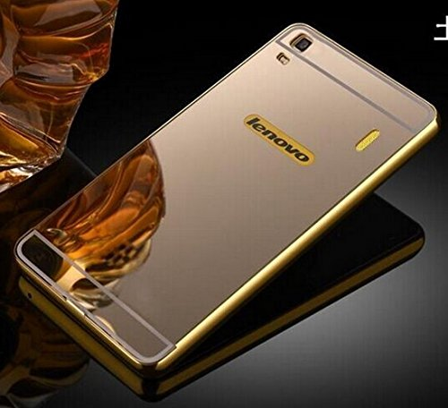 Lenovo a7000/k3 note Case, Norby Luxury Metal Bumper Acrylic Mirror Back Cover Case For Lenovo a7000/k3 note - Gold