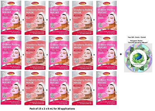 Erdbeer-peeling (Schaebens Erdbeer Peeling Gesichtsmaske - mit hautfreundlichem Peeling, AHA, Erdbeer-Frischzellen und Kiwi-Extrakt - (15 x 2 Einheiten. 6 mL je Einheit - Für 30 Anwendungen) - Für alle Hauttypen)