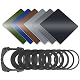 Neewer Set di Filtri Colorati: (3) Filtro a Densità Neutra (ND2, ND4, ND8), (3) Filtro Colorato (Verde, Arancione, Blu), (9)(49-82MM)Anello Adattatore in Metallo, (1) Supporto per Filtro Quadrato, (1) Custodia per Filtri