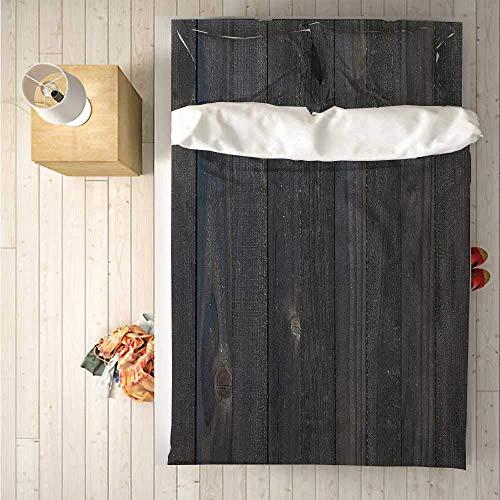 Luancrop Dunkelgrau Praktisches 3-teiliges Bettwäscheset , Bettbezugset, Holzzaun Texturbild Rau Rustikal Verwitterte Oberfläche Holz Eichendielen Dekorativ für den Innenbereich
