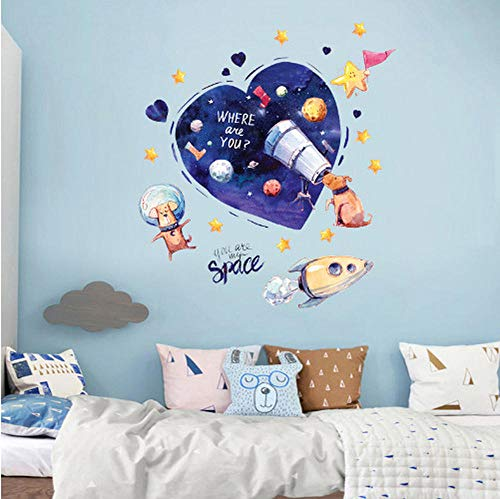 Raum Hund Wandaufkleber blaues Herz Tapete Cartoon DIY Wandkunst Aufkleber Dekoration kreative dekorative Aufkleber Kinderzimmer