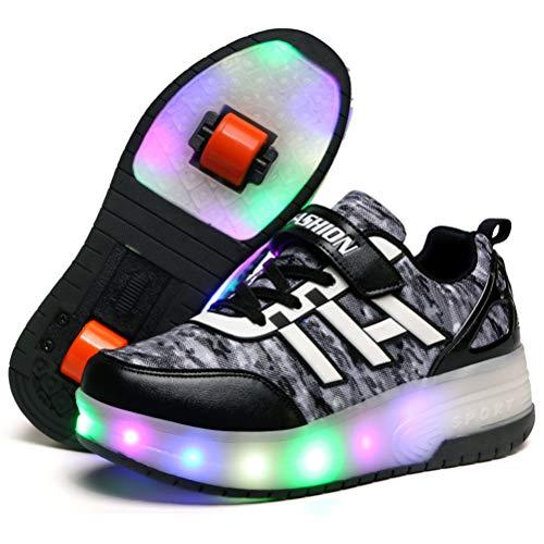 Zapatos con Ruedas Zapatillas con Dos Ruedas para niños y niña Led...