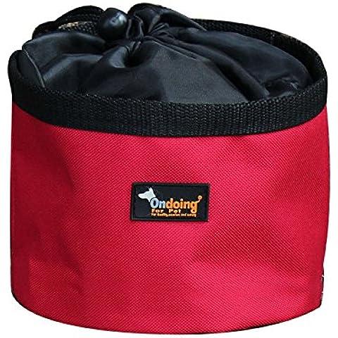 Ondoing Portatil Bolso para Perro Tazon Alimentacion de Oxford Tazon de Portatil para Mascotas Plato de Perro para Viaje (2 modelos