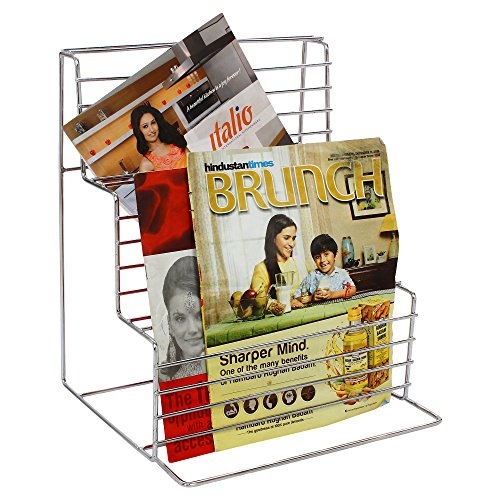 Regis Italio Stainless Steel Home And Office Magazine/Newspaper Display Holder Stand Rack Organizer  available at amazon for Rs.1199