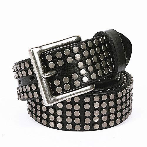 Liuxiaomiao Design für Damenmode Silber Schnalle Punk Rock Kugel Gürtel Leder verzierte Gürtel lässig Cowboy Gürtel für Jeans Echter Gürtel (Farbe : Schwarz, Größe : 110cm) -