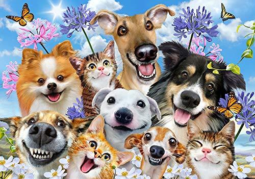 VLIES Fototapete-SELFIES HUNDE-368x254 cm-4 Bahnen-(12873V8)-Inkl. Kleister-EASYINSTALL-PREMIUM-Katzen Kinder Tiere Kids Animals Terrier Pinscher Spaniel Mops Beagle Collie Dogge Retriever Boxer -