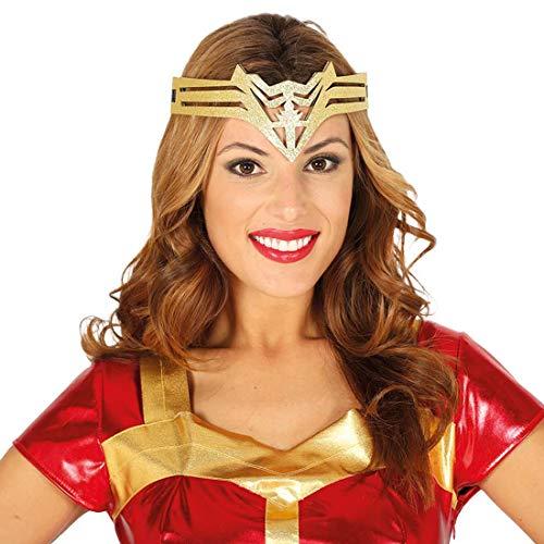 Amakando Stirnband Superheldin / Gold / Super Hero Haarschmuck für Frauen / EIN Blickfang zu Fasching & Fastnacht (Super Hero Kostüm Frauen)