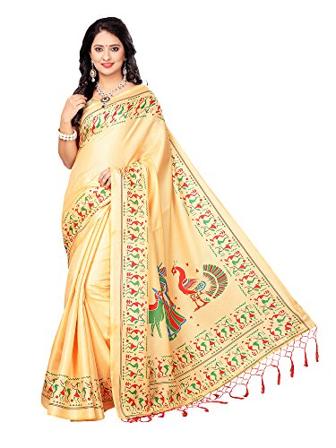 Mrinalika Fashion Women's Khadi Silk Saree With Blouse (SRJKH034_Beige_Free Size)