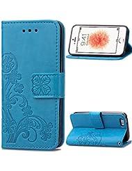 Funda iPhone 6 Plus,Carcasas para iPhone 6 Plus,Funda iPhone 6S Plus,Carcasas para iPhone 6S Plus,EMAXELERS Funda Piel para iPhone 6 / 6S Plus,iPhone 6 Plus Lujo Caso,Funda Cuero para iPhone 6S Plus Soporte Plegable, Ranuras para Tarjetas y Billetes, Estilo Libro, Acceso a Botones, Cierre Magnético,Carcasas iPhone 6 / 6S Plus 5.5 inch Sky Blue Clover