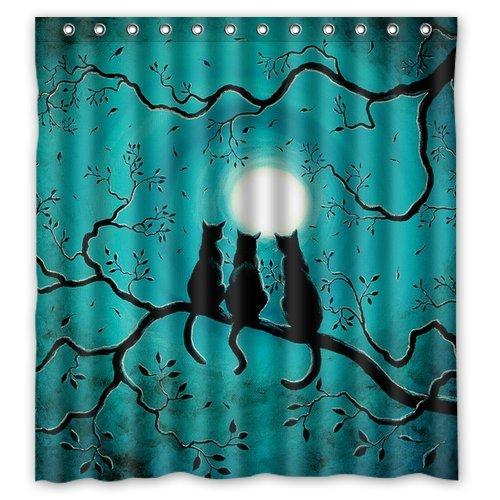 Gatti sotto la luna piena Tenda doccia Tenda da doccia impermeabile in tessuto poliestere Tenda 167,64 cm x cm (66 182,88 (72 per vasca da bagno