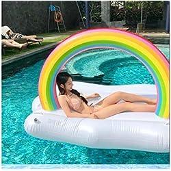 Ala inflable gigante del ángel, piscina blanca inflable gigante de la nube del arco iris, flotador inflable, silla inflable de la piscina del capile, cama inflable inflable del PVC - juguete inflable de la aguamarina (240 * 145*145cm, Blanco)