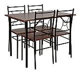 ts-ideen-Ensemble-de-cuisine-5-pices-Table-avec-4-chaises-Effet-bois-de-noyer-et-cadre-noir-110-x-70-cm