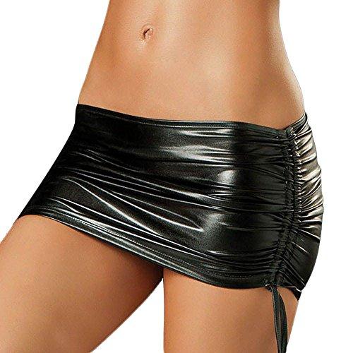 HuntGold Hot Mini Rock Damen Reizvolle Wäsche Leder mit Schnürung Naßer Blick Clubwear Schwarz