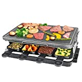 Grill Elettrico, Griglia per Raclette con Piastra in Pietra Calore Regolabile 8 Mini Padelle per 8 Persone 1300W, Nero