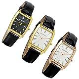 Lancardo orologio da polso con cinturino in pelle nero per uomo Quadrante quadrato numeri romani, movimento al quarzo (3 pezzi)