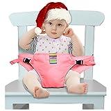Der waschbare tragbare Reise Hochstuhl Booster Babysitz mit Riemen Kleinkind -Sicherheitsgurt Schätzchenspeicherung den Gurt (6 Farben) (Rosa)