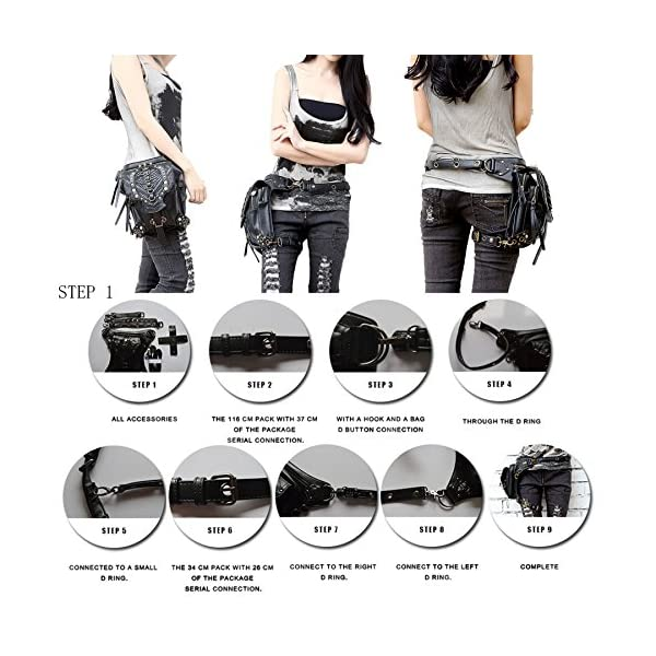 Steampunk Bag Steam Punk Retro Rock Gothic Goth Shoulder Waist Bags Packs Victorian Style for Women Men + Leg Thigh Holster Bag DM201605 100% Brand New and High Quality. Adjustable belt design for better fitting body Material : Leather ( PU Leather) Durable material and workmanship to withstand daily wear & tear. 5