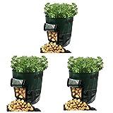 Alumuk Pflanztaschen mit Belüftung,3er-Pack, ca. 40 Liter Pflanzbeutel Pflanzsack aus PE-Kunststoff Stofftaschen Kartoffelpflanztaschen mit Lasche, für Gemüse, Kartoffeln, Karotten und Zwiebeln