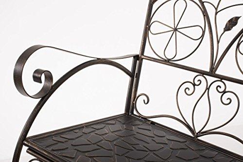 CLP Metall-Gartenbank RIEF, Landhausstil, lackiertes Eisen, ca. 110 x 50 cm, Design nostalgisch antik Bronze - 5
