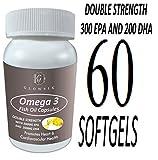 Glowsik Fish Oil Omega 3 Double Strength Capsules 1000Mg with 300 Mg EPA