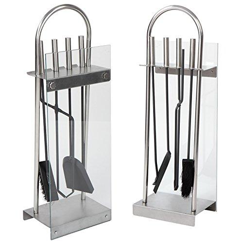 Jago Set attrezzi accessori per camino caminetto acciaio inox e lastra in vetro con paletta, scopino, attizzatoio e pinza da camino