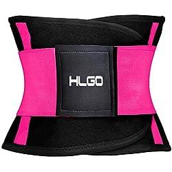 HLGO Waist Trimmer Faja Reductora Deportiva de Neopreno para Hombres y Mujeres Soporte para el Área Lumbar Espalda Abdomen Rosa, S