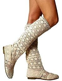 ORANDESIGNE Femme Été Bottes Élégant Respirant Gladiateur Broderie Slip-on  Plate Chaussures Mode Engrener Haute d3e7e102c066