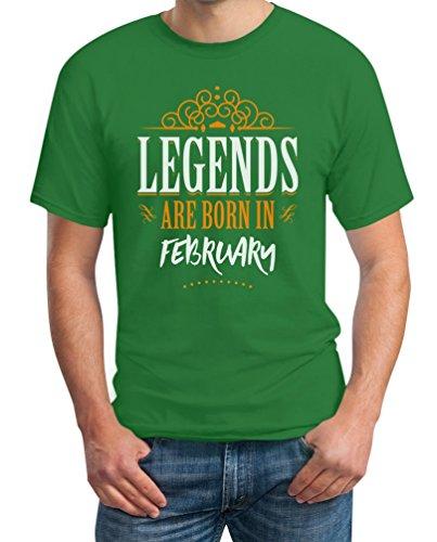 Legends are born in Februar - Geschenke T-Shirt Grün