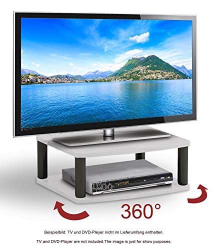 RICOO Rotary Wooden TV Stand Rack FS052W Monitor Mount Universal LED Curved QLED QE LCD OLED Television Cabinet Pedestal Floating Shelf Table Base Single Screen Heightening 360 Degrees Rotation/ White