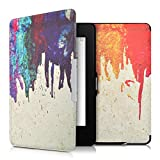 kwmobile Cover per Amazon Kindle Paperwhite - Custodia a libro per eReader - Copertina protettiva libro flip case Protezione per e-book reader Design arcobaleno colori colanti multicolore rosso beige