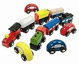 HOLZEISENBAHN ZUBEHÖR AUTO u. EISENBAHN SET HOLZ - paßt zu allen gängigen Holzschienen - Holzspielzeug - für Holzeisenbahn