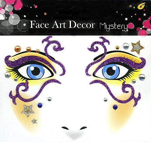 Face Art Decor Glitzer Tattoo Sticker Mystery Sternenprinzessin - Wunderschöne Dekoration für Gesicht zu Karneval, Geburtstag, Mottoparty oder (Katze Einfach Up Make Kostüm)