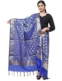 Asavari Royal Blue Banarasi Silk Dupatta With Golden Jari Jaal Weaves