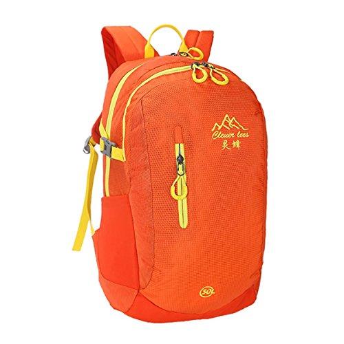 30L bergsteigen rucksack einfarbig casual umhängetasche studenten tasche mit großer kapazität leicht auf reisen in der packung racksacks für männer und frauen 5 farben Orange
