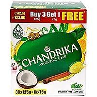 Chandrika Ayurvedic Handmade Soap, 125g (Pack of 3) with Free 75g