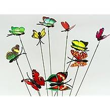 Adorno de hada del jardín en miniatura SecretRain macetas macetas decoración del hogar 10piezas coloridas y brillantes mariposas de adhesivo