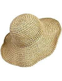 Sombrero de Paja de las Mujeres, Playa de Verano Sombrero de Sol Plegable Gorra de sol de ala ancha Señora Trenzado para viajes Decoración Vacaciones, Suave Transpirable (Beige)