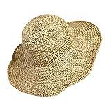 Cappello Parasole di Paglia da donna Elegante, Cappello Tesa Larga da Sole Estate, flessibile e pieghevole per l'estate viaggio e la spiaggia Vacanze (beige)