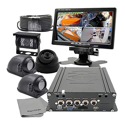 WeniChen HDD-DVR-Videorekorder Kit - 960P 4CH HDD/SD-Karte Mobile DVR + 4 x 720P Front-Seitenrückfahrkameras + 17,8 cm TFT LCD Farbmonitor + 4 Kabel Audio Surveillance Kit
