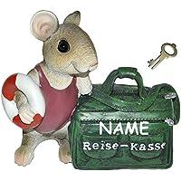 """Preisvergleich für """" Reise - Kasse """" - Spardose Maus / mit Tasche - mit Schlüssel + Namen - stabile Sparbüchse aus Kunstharz - Reisen Geld Sparschwein Reisekoffer Urlaubskasse Kofferkasse"""